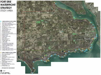 Small image of map showing study area for waterfront project