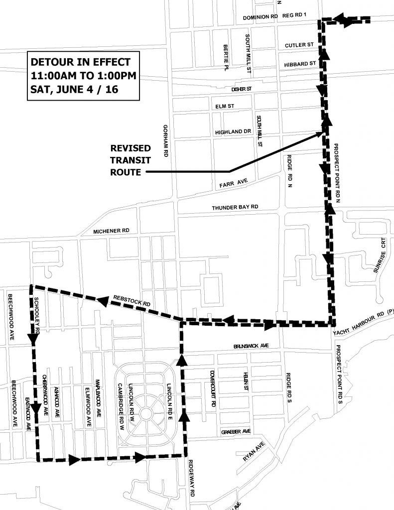 bus route detour_Battle of Ridgeway 04JUN16